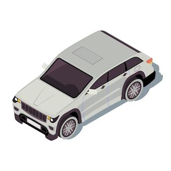 車のアイソメトリックカラーイラスト。都市交通のインフォグラフィック。クロスオーバーsuv。オフロード車。アーバンオート。町の交通機関。白い背景で隔離の自動車3dコンセプト
