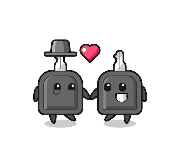 Ключ от машины мультипликационный персонаж пара с жестом влюбленности, милый стиль дизайна для футболки, наклейки, элемента логотипа Premium векторы