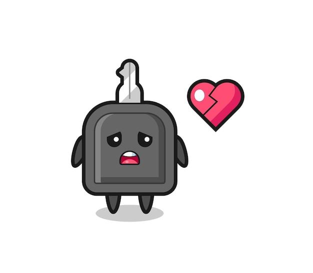 Иллюстрация шаржа ключа автомобиля разбитое сердце, милый стиль дизайна для футболки, стикер, элемент логотипа