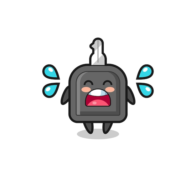 Car key cartoon illustration with crying gesture , cute style design for t shirt, sticker, logo element