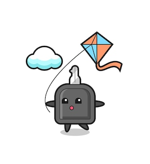 Car key mascot illustration is playing kite , cute style design for t shirt, sticker, logo element