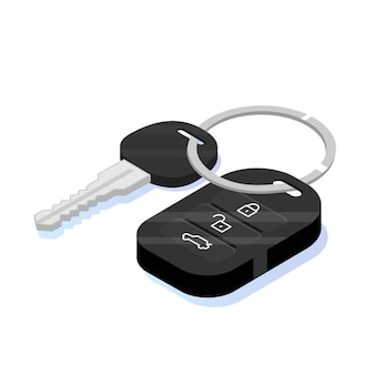 車のキーセキュリティアイソメトリックアイコン。