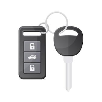 白い背景の上のリモコンで車のキー。