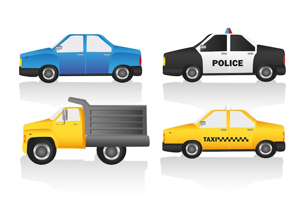 Car kit includes truck normal car taxi and police car