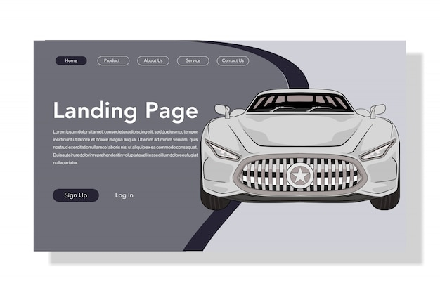 Car landing page flat illustration