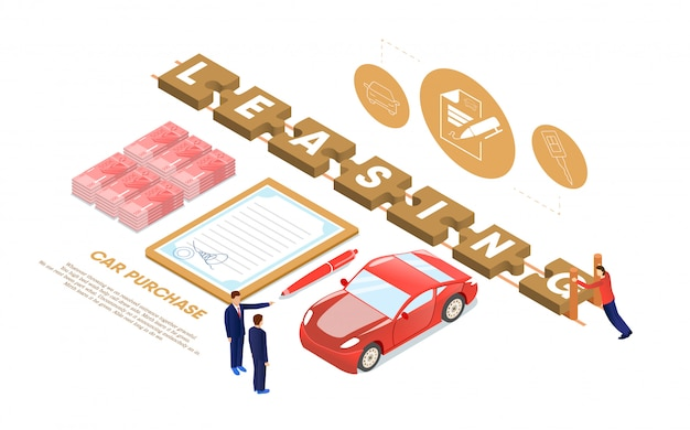 Car leasing, automobile purchase or buying flat.