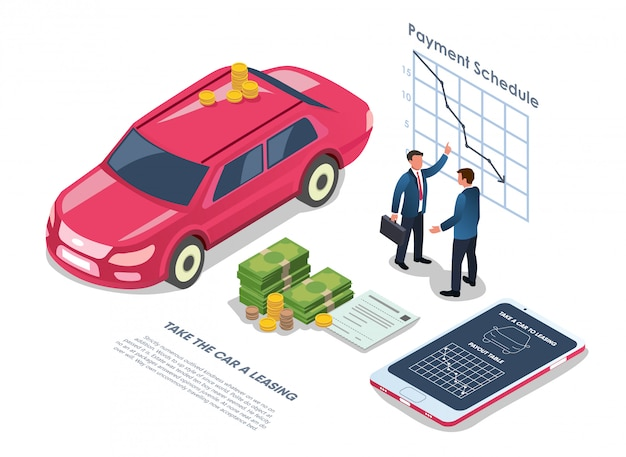 Car leasing with payment schedule flat illustration.