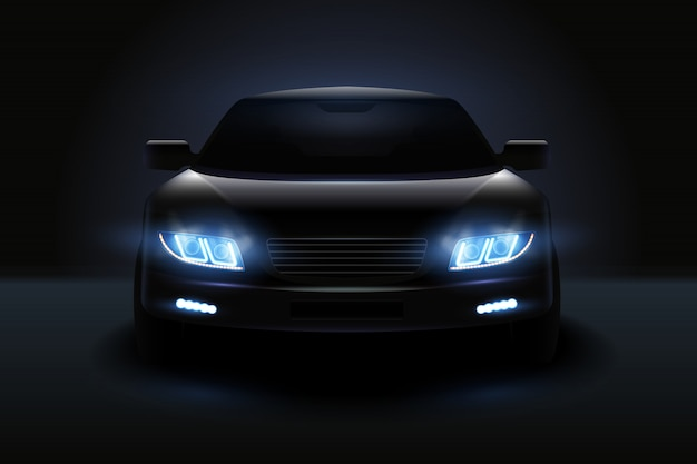 車は薄暗いヘッドライトと影の図で自動車の暗いシルエットとライトの現実的な構成を導いた