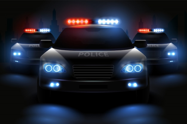Car led lights realistic composition with images of police patrol wagons with dimmed headlights and light bars illustration