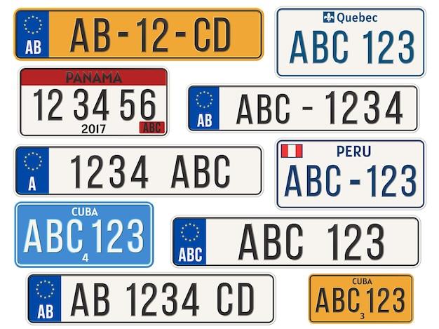 車のナンバープレート。 eu諸国の車のナンバープレート。