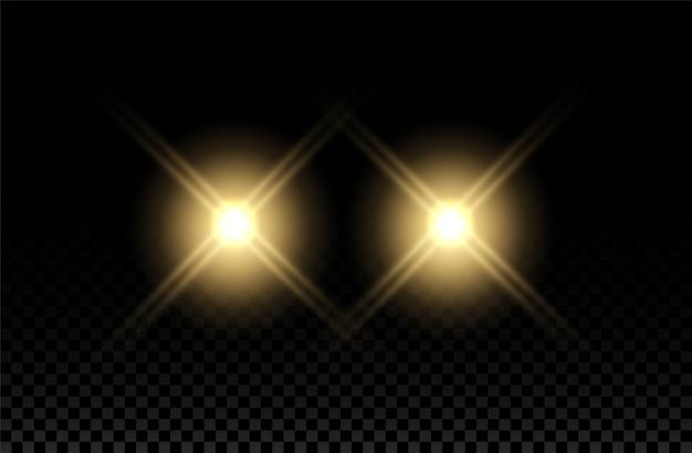 カーライトエフェクトヘッドライトフレアビームラウンドトレインイエローフラッシュオートリアルシャイン Premiumベクター