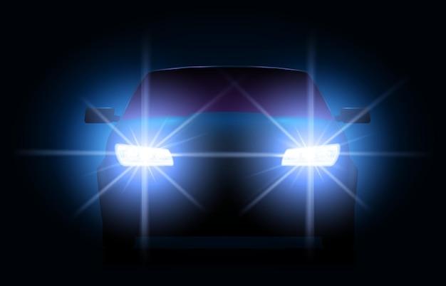 Car lights at night Premium Vector
