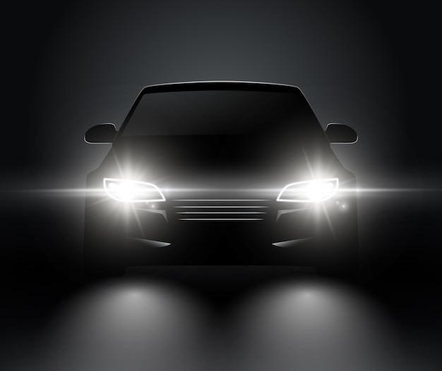 자동차 조명 현실적인 전면 실루엣보기. 어둠 속에서 자동차 벡터 자동차 헤드 라이트