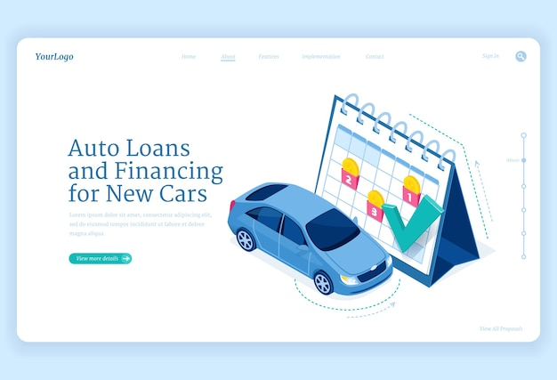 自動車ローンのアイソメトリックランディングページ、巨大なカレンダーに自動車スタンドを備えた新しい自動車融資のコンセプト