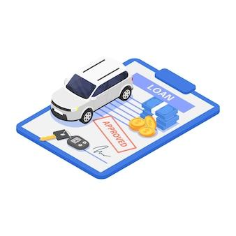 レンタカーまたはレンタカーのコンセプト。白い背景の上のベクトル等角分離図。