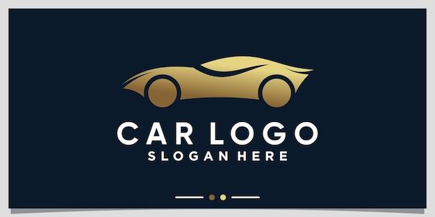 Car logo design template with golden gradient style color premium vector