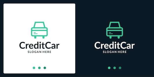 자동차 로고 영감과 신용 카드 로고. 프리미엄 벡터.