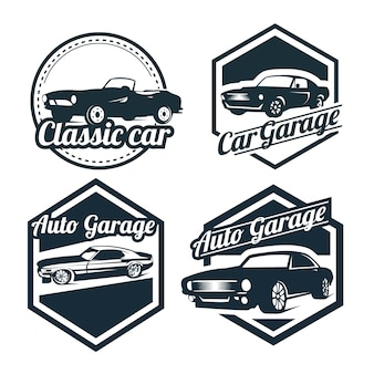 Car logos design set, vintage style emblems and badges retro illustration. classic cars repairs, tire service silhouettes.