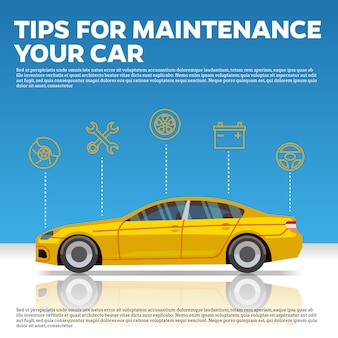 Car mainentance tips vector illustration. yellow car and line icons on blue background with reflection.