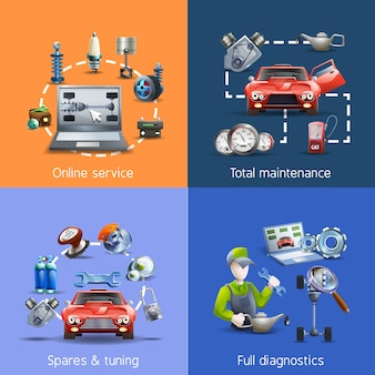 Car maintenance cartoon icons set