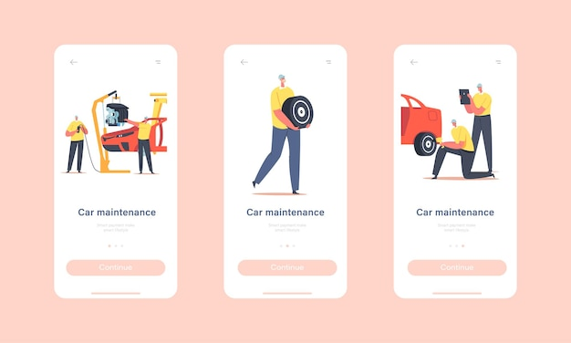 Car maintenance mobile app page onboard screen template. workers characters on plant production line, vehicle manufacture factory, transport engineering concept. cartoon people vector illustration