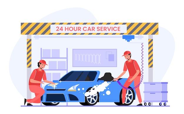 Car maintenance in a workshop by mechanic illustration design