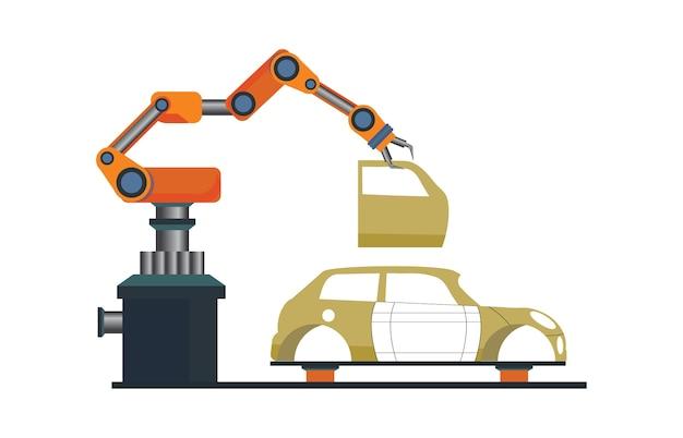 Car manufacturing process with smart robotic automotive.