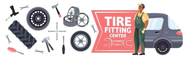 Автомеханик меняет колеса и ремонтирует их концепция службы шиномонтажа полная горизонтальная векторная иллюстрация
