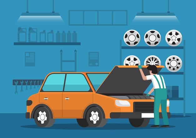 자동차 정비사는 자동차 수리 차고에서 차를 수리합니다. 자동 수리 서비스 개념입니다.