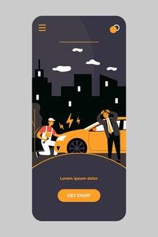 Car mechanic repairing broken car on road on mobile app