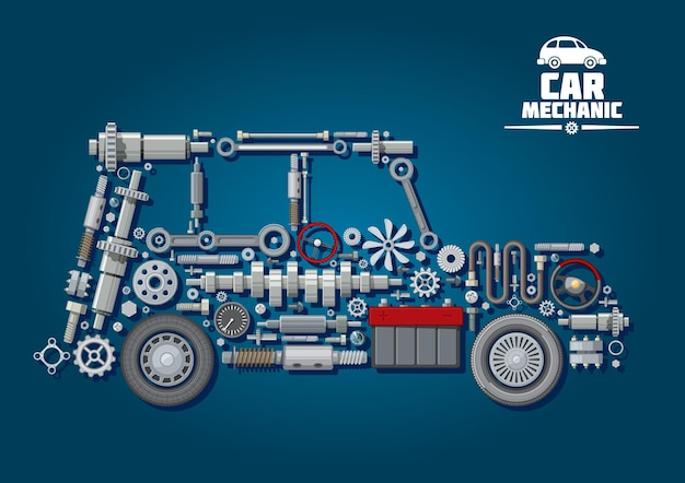 Car mechanic scheme with steering wheels, crankshaft, battery, gear, speedometer, axles, gaskets and clutch, radiator fan, brake system.