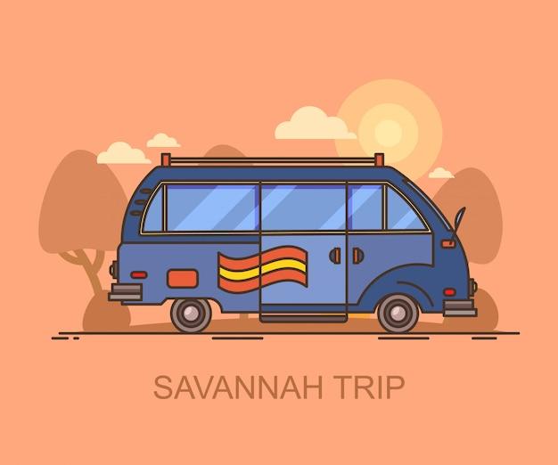 Car or minivan driving through savannah, safari