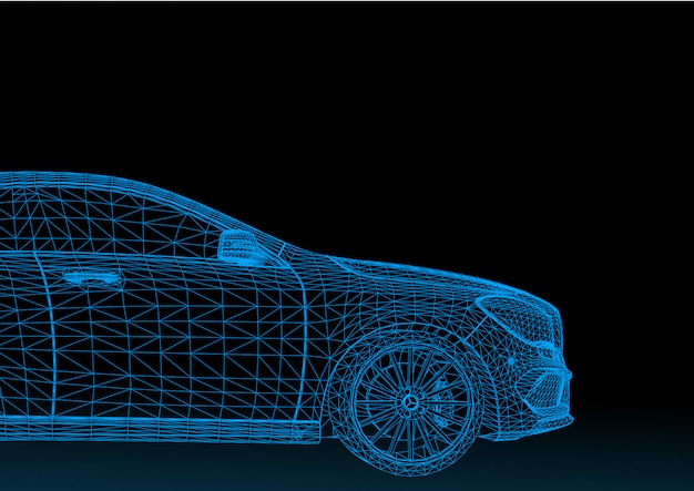 Car model body structure, wire model