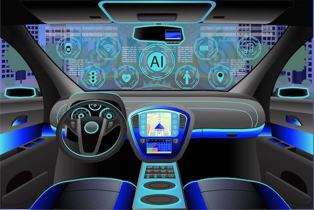 Автомобиль современный интерьер, вид из кабины внутри. иллюстрация. искуственный интеллект