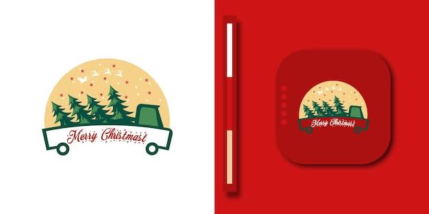 Автомобиль луна дерево доставка грузовик новогодний фон