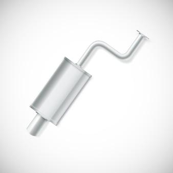 Комплект автомобильного глушителя. автомобильная часть, иллюстрация