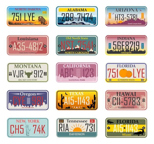 Автомобильные номера регистрации транспортных средств в штатах сша (абстрактные номера). автомобильные номера. номера транспортных средств разных штатов и стран америки, регистрационные номера грузовиков.