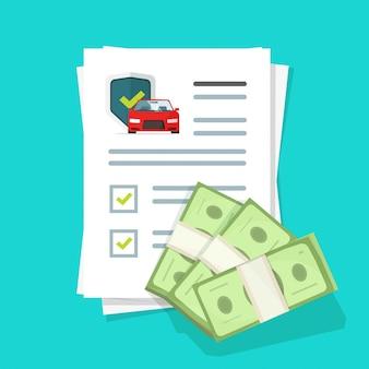 자동차 또는 자동차 보험 금융 보증 구매 보호 거래 또는 자동차 보안 안전 구매 보증 관리 보증 평면 만화