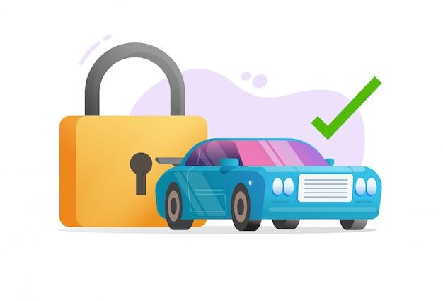 Автомобиль или транспортное средство, защищенное защитным замком или иллюстрация технологии защиты автомобиля от кражи