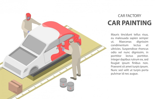 Car painting concept banner, isometric style