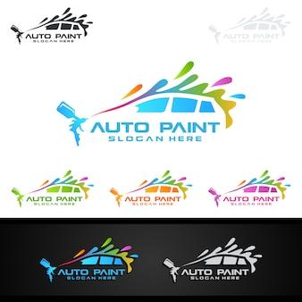 Логотип с изображением автомобиля с распылителем и спортивной концепцией автомобиля