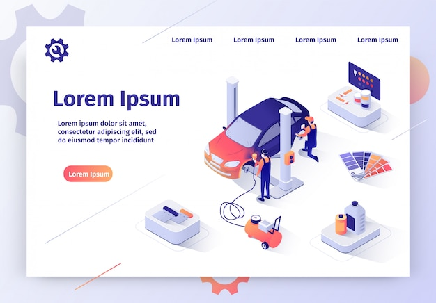Car painting service isometric vector website
