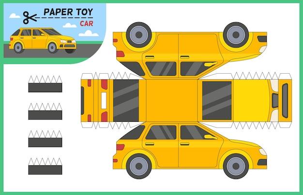Машинка из бумаги вырезать игрушку. создайте 3d модель автомобиля самостоятельно с помощью ножниц и клея. рабочий лист детской образовательной игры с седаном такси, авто для резки, дошкольная головоломка, мультяшная векторная плоская иллюстрация