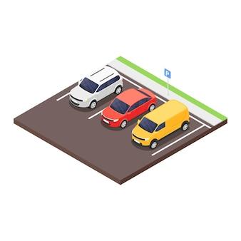 흰색 바탕에 주차장 고립 된 아이콘입니다. 벡터 아이소메트릭 그림입니다.