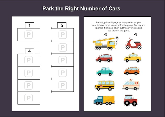 Car parking lot printable game template for kids. cut out the cars and put them on parking lot. a4 worksheets with activity pages for toddlers.