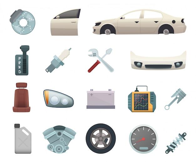 자동차 부품. 기어 휠 디스크 엔진 변속기 스틸 화이트 도어 브라운 시트 및 헤드 라이트가 장착 된 자동차 제작 키트