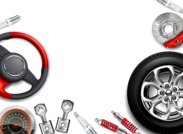 Car parts background with realistic images of alloy disks steering wheel shock absorbers with empty space