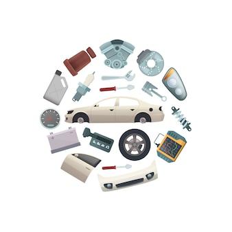 Car parts in circle shape