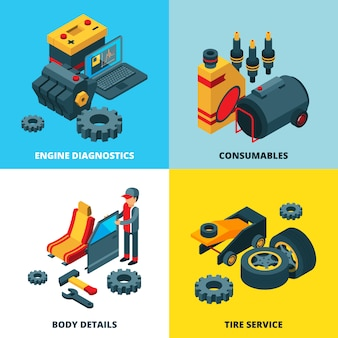 Car parts collection. engine automobile wheels accumulator transmission gears vector isometric pictures