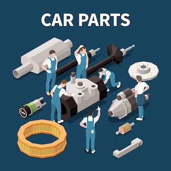 Concetto di parti di automobili con illustrazione isometrica di simboli di riparazione e assistenza